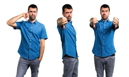 Set of Handsome man with blue shirt showing thumb down sign with negative expression