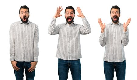 Collage of Handsome man with beard with surprise and shocked facial expression