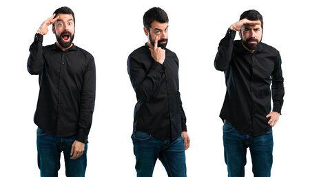 Set of Handsome man with beard showing something Zdjęcie Seryjne