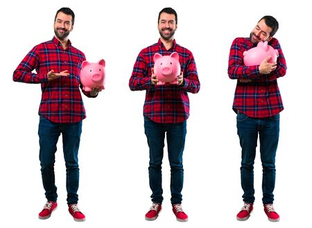 Set of Handsome man holding a big piggybank