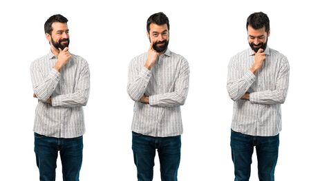 Collage of Handsome man with beard standing and looking to the front