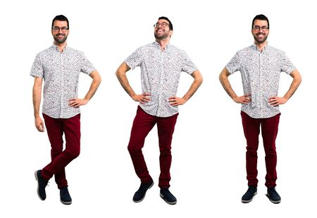 Set of Handsome man with glasses posing with arms at hip Zdjęcie Seryjne