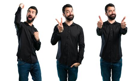 Set of Handsome man with beard making victory gesture