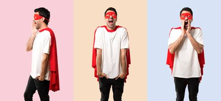 Set of Superhero man with mask and red cape shouting with mouth wide open on colorful background Imagens - 124925197