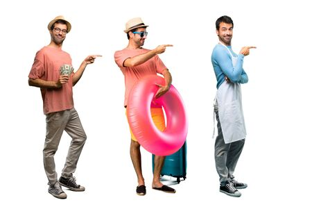 Group of man with bills, chef and Man with hat and sunglasses on his summer vacation pointing finger to the side and presenting a product in lateral position