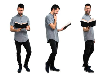 Set of Handsome man reading a book