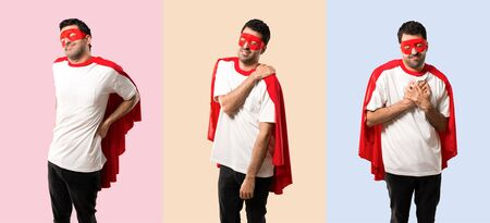 Set of Superhero man with mask and red cape suffering from pain on colorful background