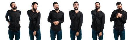 Set of Handsome man with beard with shoulder pain Stock fotó