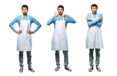 Set of Man wearing an apron making good-bad sign. Undecided person between yes or not 版權商用圖片
