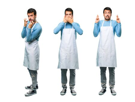 Set of Man wearing an apron covering mouth, frustrated and crossing fingers
