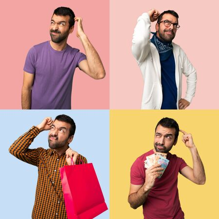 Set of men having doubts while scratching head Stock Photo