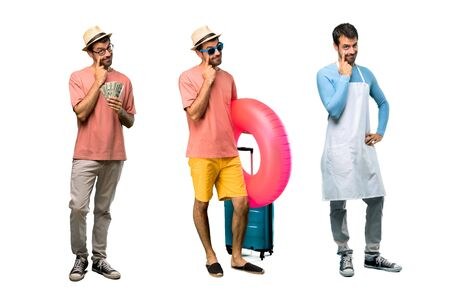 Group of man with bills, chef and Man with hat and sunglasses on his summer vacation standing and looking to the front opening the eye with finger Banque d'images