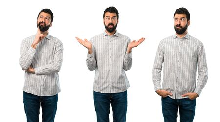 Collage of Handsome man with beard having doubts and with confuse face expression Stock Photo