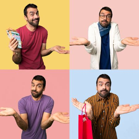 Set of men having doubts while raising hands and shoulders Stock Photo