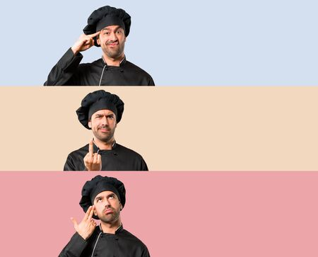 Set of Chef man In black uniform making the gesture of madness putting finger on the head on colorful background