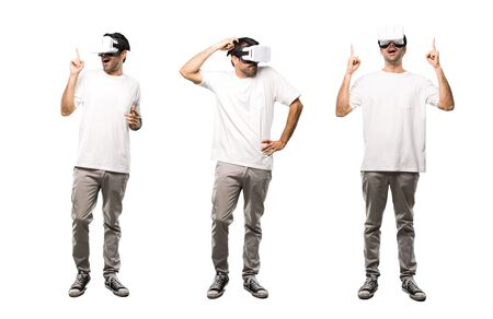 Set of Man using VR glasses having doubts and thinkink Stock Photo