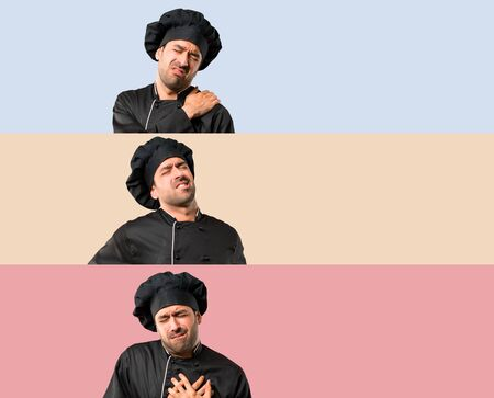 Set of Chef man In black uniform suffering from shoulder back and heart on colorful background