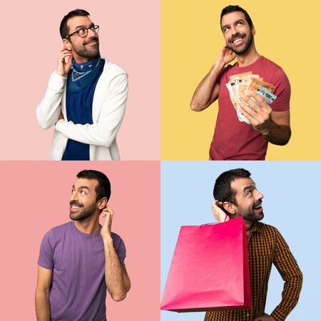 Set of men thinking an idea while scratching head Banco de Imagens