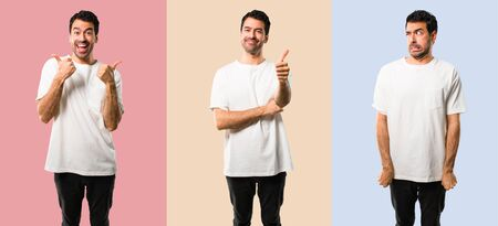 Set of Young man with white shirt giving a thumbs up gesture and smiling because something good has happened on colorful background