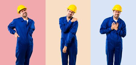 Set of Young workman with helmet suffering from pain in shoulder, back and heart for having made an effort on colorful background