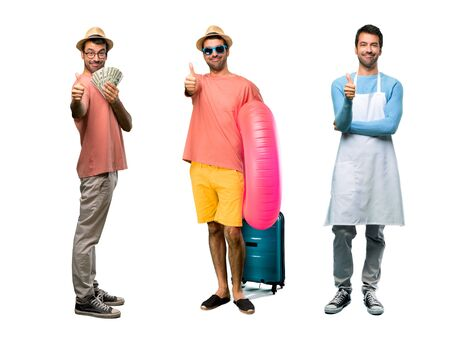 Group of man with bills, chef and Man with hat and sunglasses on his summer vacation giving a thumbs up gesture and smiling because something good has happened