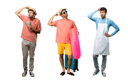 Group of man with bills, chef and Man with hat and sunglasses on his summer vacation having doubts and with confuse face expression while scratching head