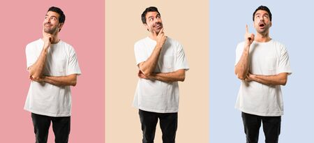 Set of Young man with white shirt standing and thinking an idea on colorful background