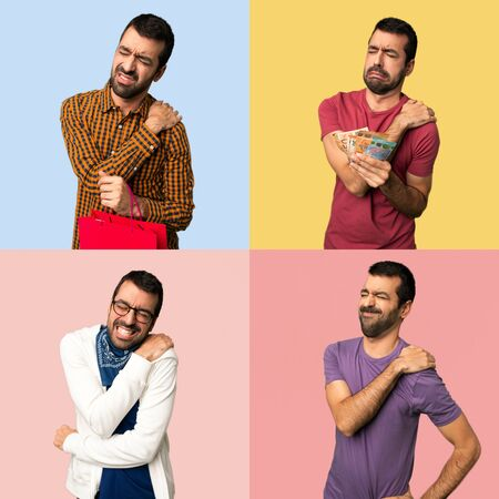 Set of men suffering from pain in shoulder for having made an effort