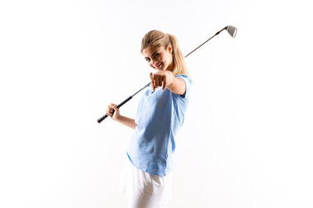 Teenager golfer girl over isolated white background Stock Photo