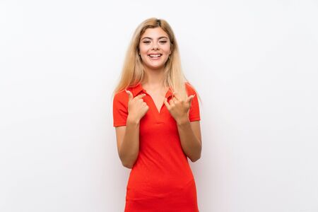 Teenager girl over isolated white background with surprise facial expression