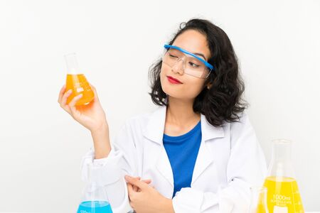 Young scientific asian girl