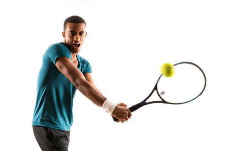 Afro American tennis player man over isolated white background 免版税图像