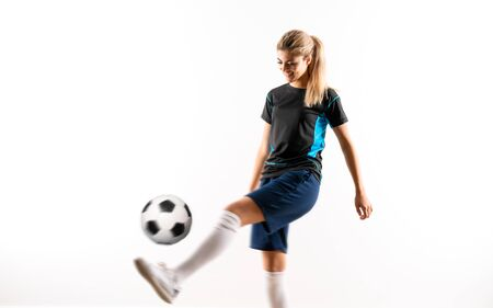 Blonde football player teenager girl over isolated white background