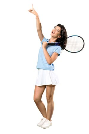 A full-length shot of a Young tennis player woman pointing up a great idea over isolated white background Imagens