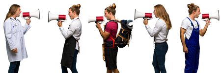 Set of traveler, hiker, doctor, barber and business man shouting through a megaphone to announce something in lateral position Stockfoto
