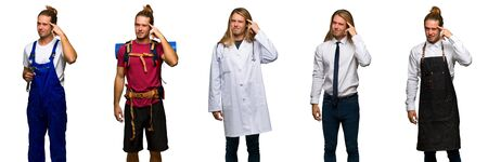 Set of traveler, hiker, doctor, barber and business man making the gesture of madness putting finger on the head