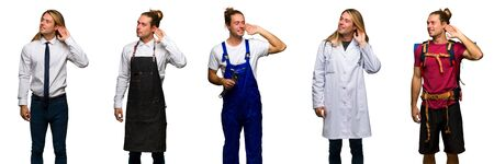 Set of traveler, hiker, doctor, barber and business man listening to something by putting hand on the ear Imagens