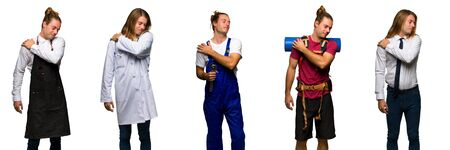 Set of traveler, hiker, doctor, barber and business man suffering from pain in shoulder for having made an effort