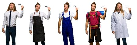Set of traveler, hiker, doctor, barber and business man taking a credit card without money