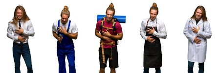 Set of traveler, hiker, doctor, barber and business man smiling a lot while putting hands on chest