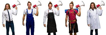 Set of traveler, hiker, doctor, barber and business man holding a megaphone