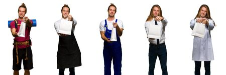 Set of traveler, hiker, doctor, barber and business man holding a lot of shopping bags Stockfoto