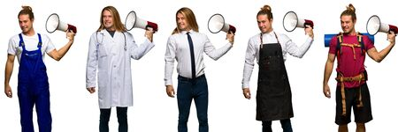 Set of traveler, hiker, doctor, barber and business man taking a megaphone that makes a lot of noise