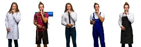 Set of traveler, hiker, doctor, barber and business man showing a sign of silence gesture putting finger in mouth Imagens
