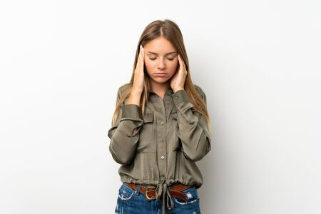 Lithuanian blonde girl over isolated white background with headache