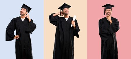Set of Man on his graduation day University having doubts and with confuse face expression on colorful background