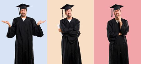 Set of Man on his graduation day University having doubts and with confuse face expression. Questioning an idea on colorful background Stock Photo