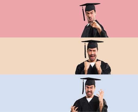 Set of Man on his graduation day University annoyed angry in furious gesture. Frustrated by a bad situation on colorful background