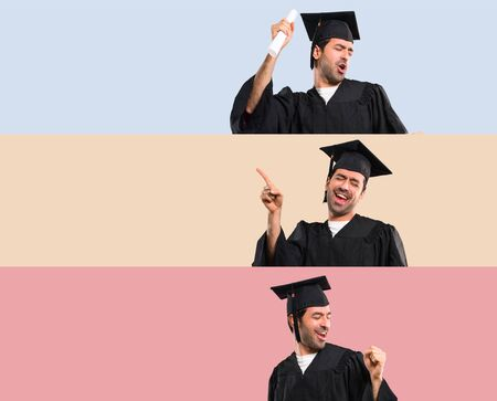 Set of Man on his graduation day University enjoy dancing while listening to music at a party on colorful background