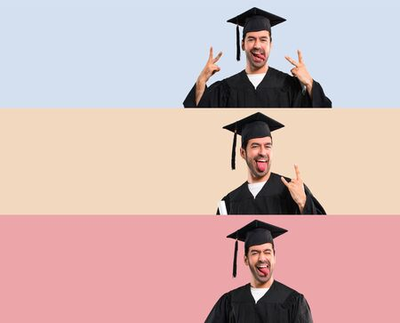 Set of Man on his graduation day University showing tongue at the camera having funny look on colorful background